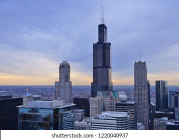 CHICAGO, IL -31 OCT 2018- Sunset view of the Willis Tower (formerly called Sears Tower), the tallest building in Chicago. The largest tenant is the headquarters of United Airlines.