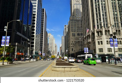 CHICAGO, IL -31 OCT 2018- View of the landmark Michigan Avenue (Boul Mich, Magnificent Mile) next to the Chicago Tribune building in downtown Chicago, Illinois.