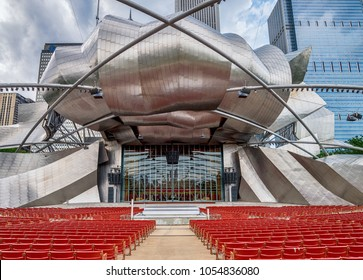 CHICAGO, IL 4 JULY 2017- View of the Jay Pritzker Music Pavilion designed by architect Frank Gehry in the Millennium Park in Chicago, Illinois.
