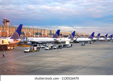 CHICAGO, IL -4 SEP 2017- Airplanes from United Airlines (UA) at the Chicago O'Hare International Airport (ORD). The CEO of United, headquartered in Chicago, is Oscar Munoz.