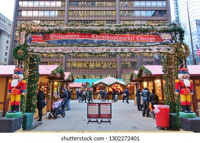 CHICAGO, IL -5 DEC 2018- View of the Christkindlmarket, a traditional Christmas market held annually at Daley Plaza in Chicago, Illinois, United States.