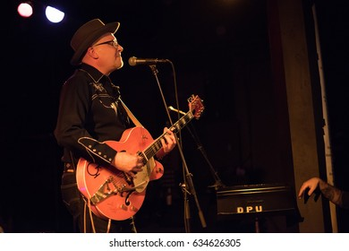 """CHICAGO, IL 5/5/2017: Day 2 of Big C Jamboree Blowout, the 25th anniversary and final event of """"Chicago's original rockabilly open mic."""" Legendary Rockabilly band The Moondogs perform to huge audience"""