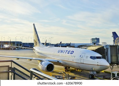 CHICAGO, IL -7 APR 2017- Airplanes from United Airlines (UA) at the Chicago O'Hare International Airport (ORD). The CEO of United, headquartered in Chicago, is Oscar Munoz.