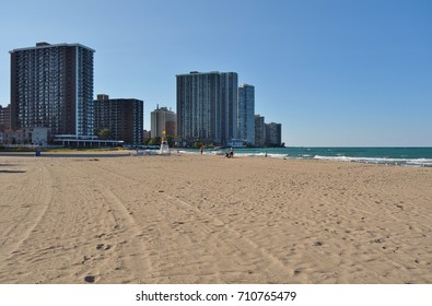 CHICAGO, IL -8 AUG 2017- Summer view of the Edgewater Beach in Chicago along the shores of Lake Michigan.