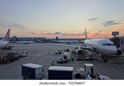 CHICAGO, IL -9 AUG 2017- Airplanes from United Airlines (UA) at the Chicago O'Hare International Airport (ORD). The CEO of United, headquartered in Chicago, is Oscar Munoz.
