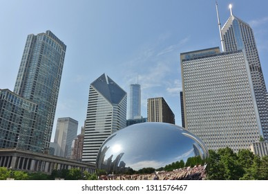 CHICAGO, IL -9 JUN 2018- View of the Cloud Gate sculpture, nicknamed the Bean, designed by Anish Kapoor in the Millennium Park in Chicago, Illinois.