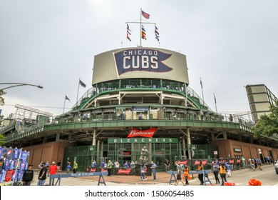 Chicago, IL - 9/1/19: The back of the outfield scoreboard at the Chicago Cubs' home stadium, historic Wrigley Field