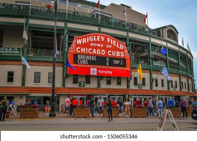 Chicago, IL - 9/1/19: The famous red marquee on the side of historic Wrigley Field displays the score of an ongoing baseball game