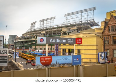 Chicago, IL - 9/2/19: A busy subway stop near Wrigley Field on game day.