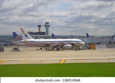 CHICAGO, IL –23 APR 2019- View of an Airbus A320 airplane from United Airlines (UA) painted in retro special livery colors at Chicago O'Hare International Airport (ORD).