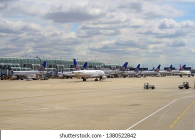 CHICAGO, IL –23 APR 2019- View of airplanes from United Airlines (UA) at Chicago O'Hare International Airport (ORD), a major hub for United, which is headquartered in Chicago.