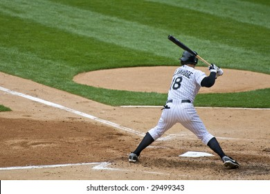 CHICAGO, IL - APRIL 29: Brent Lillibridge hits for the Chicago White Sox vs. Seattle Mariners at U.S. Cellular Field April 29, 2009 in Chicago, IL.