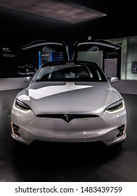 Chicago, IL – April 7, 2018: Photo of White Tesla Model X with Falcon Wing Doors Up