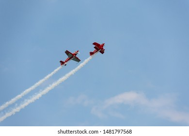 CHICAGO, IL - AUGUST 16, 2019: Team Oracle rehearses for the Chicago Air and Water Show over Lake Michigan at North Avenue Beach on Friday before the show.