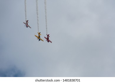 CHICAGO, IL - AUGUST 16, 2019: Planes practice and rehearse for the Chicago Air and Water Show at North Avenue Beach.