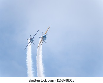 Chicago, IL - August 17th, 2018:  Matt Chapman flies alongside a member of the Firebirds Delta team as they invert their planes over the city during practice for the annual Air and Water show.