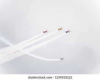 Chicago, IL - August 18th, 2018:  Matt Chapman and the Firebirds Delta team awe the crowds below as they perform stunts over the city during the annual Air and Water show.