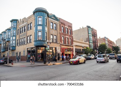 Chicago, IL, August 19, 2017: Street scene in the trendy, popular Wicker Park neighborhood on a weekend night. Wicker Park attracts many young people because of its vibrant nightlife.
