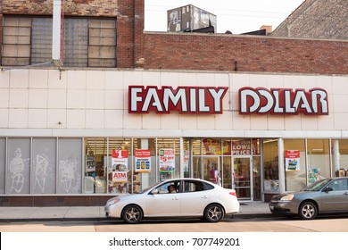 Chicago, IL, August 30, 2017: A man walks out of a local Family Dollar store in Noble Square, Chicago, a neighborhood known for being close to downtown and still affordable.