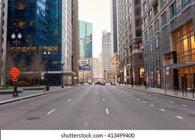 """CHICAGO, IL - CIRCA APRIL, 2016: streets of Chicago at daytime. Chicago, colloquially known as the """"Windy City"""", is the third most populous city in the USA, following New York and Los Angeles"""