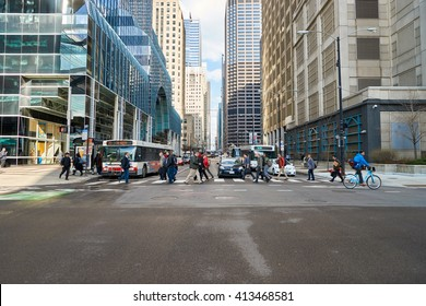 """CHICAGO, IL - CIRCA MARCH, 2016: streets of Chicago at daytime. Chicago, colloquially known as the """"Windy City"""", is the third most populous city in the USA, following New York City and Los Angeles"""