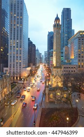 CHICAGO, IL - CIRCA MARCH, 2016: Chicago at dusk. Chicago is the third most populous city in the United States.