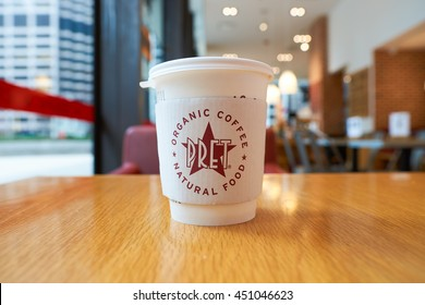 CHICAGO, IL - CIRCA MARCH, 2016: close up shot of cup with hot beverage in Pret a Manger. Pret a Manger is a sandwich shop chain based in the United Kingdom