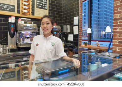 CHICAGO, IL - CIRCA MARCH, 2016: indoor portrait of staff in Pret a Manger. Pret a Manger is a sandwich shop chain based in the United Kingdom