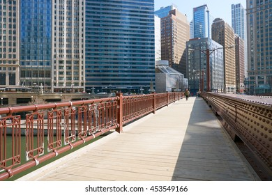 CHICAGO, IL - CIRCA MARCH, 2016: view of the bridge at Chicago downtown in the daytime. Chicago is the third most populous city in the United States.