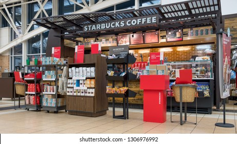 CHICAGO, IL - DECEMBER 1, 2018 - Starbucks shop inside O'Hare Travel Plaza with different coffe types on display