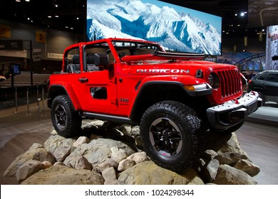 CHICAGO, IL - FEBRUARY 10: Jeep Wrangler Rubicon at the annual International auto-show, February 10, 2018 in Chicago, IL