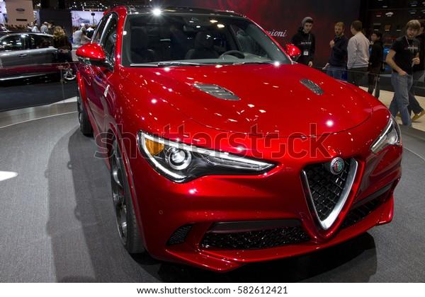 CHICAGO, IL - FEBRUARY 11: Alfa Romeo Stelvio at the annual International auto-show, February 11, 2017 in Chicago, IL
