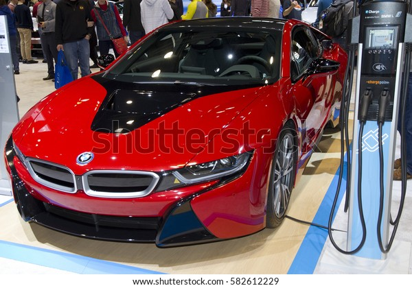 CHICAGO, IL - FEBRUARY 11: BMW i8 electrical car at the annual International auto-show, February 11, 2017 in Chicago, IL