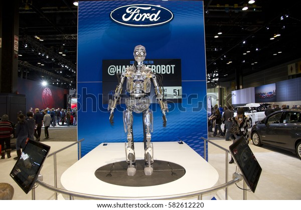 CHICAGO, IL - FEBRUARY 11: Ford's Showroom and a robot at the annual International auto-show, February 11, 2017 in Chicago, IL
