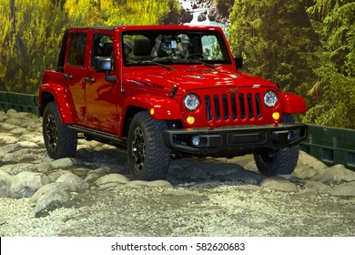 CHICAGO, IL - FEBRUARY 11: Jeep Wrangler at the annual International auto-show, February 11, 2017 in Chicago, IL