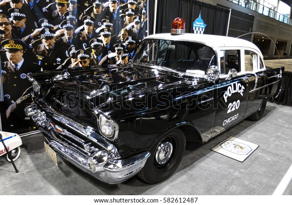 CHICAGO, IL - FEBRUARY 11: Chicago Police vintage car at the annual International auto-show, February 11, 2017 in Chicago, IL