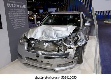 CHICAGO, IL - FEBRUARY 11: Subaru crash test at the annual International auto-show, February 11, 2017 in Chicago, IL