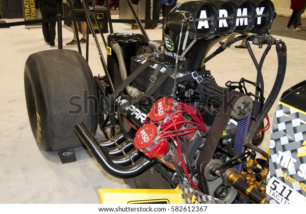 CHICAGO, IL - FEBRUARY 11: US Army Dragster car at the annual International auto-show, February 11, 2017 in Chicago, IL