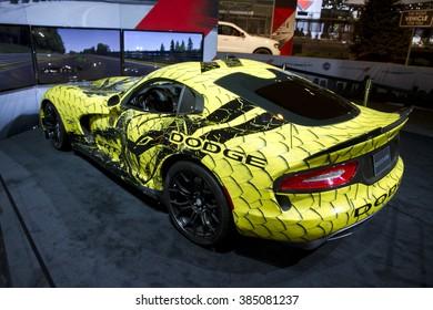 CHICAGO, IL - FEBRUARY 15: Dodge Viper 2016 at the annual International auto-show, February 15, 2016 in Chicago, IL
