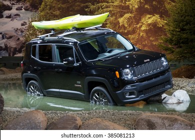 CHICAGO, IL - FEBRUARY 15: Jeep Renegade 2016 at the annual International auto-show, February 15, 2016 in Chicago, IL