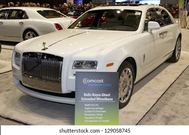 CHICAGO, IL - FEBRUARY 16: Rolls-Royce Ghost at the annual International auto-show, February 16, 2013 in Chicago, IL