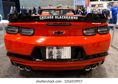 CHICAGO, IL - FEBRUARY 9: Blackhawks Chevrolet Camaro at the annual International auto-show, February 9, 2019 in Chicago, IL