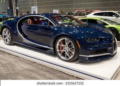 CHICAGO, IL - FEBRUARY 9: Bugatti Chiron 2019 at the annual International auto-show, February 9, 2019 in Chicago, IL