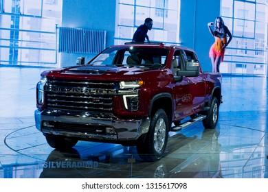 CHICAGO, IL - FEBRUARY 9: Chevrolet SIlverado HD 2020 at the annual International auto-show, February 9, 2019 in Chicago, IL