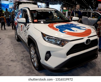 CHICAGO, IL - FEBRUARY 9: Chicago Cubs Toyota Rav4 at the annual International auto-show, February 9, 2019 in Chicago, IL
