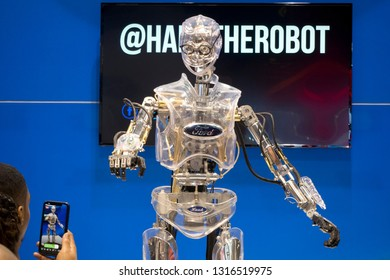 CHICAGO, IL - FEBRUARY 9: Ford's Hank the Robot at the annual International auto-show, February 9, 2019 in Chicago, IL