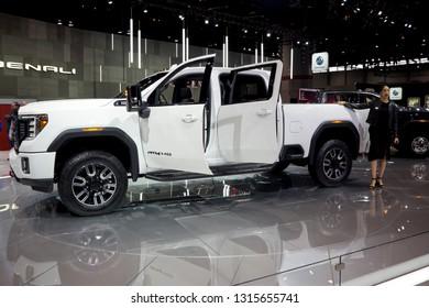CHICAGO, IL - FEBRUARY 9: GMC Sierra HD 2020 at the annual International auto-show, February 9, 2019 in Chicago, IL