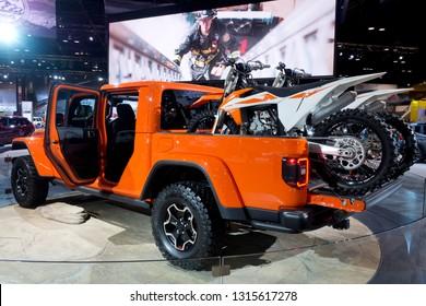 CHICAGO, IL - FEBRUARY 9: Jeep Rubicon Gladiator truck at the annual International auto-show, February 9, 2019 in Chicago, IL