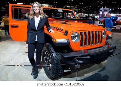 CHICAGO, IL - FEBRUARY 9: Jeep Gladiator Rubicon truck at the annual International auto-show, February 9, 2019 in Chicago, IL