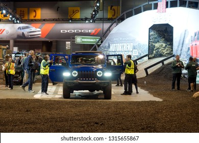 CHICAGO, IL - FEBRUARY 9: Jeep Wrangler Rubicon test drive with obstacles at the annual International auto-show, February 9, 2019 in Chicago, IL